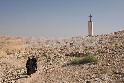 Monks in Judea desert, Israel