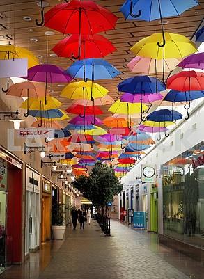 Umbrellas in the shopping center
