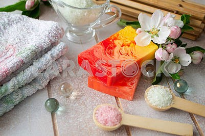 Organic natural hand made soap with rose and sakura petals, spa concept, home spa , sauna concept, relax and body care