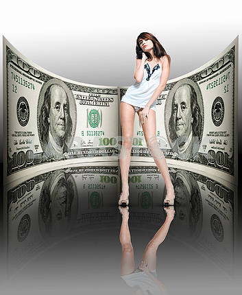 Beautiful girl in a female underwear. Money, 100 american dollar
