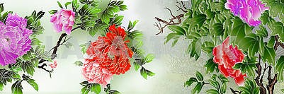 Light background, fabulous multicolored flowers on the branches with green leaves