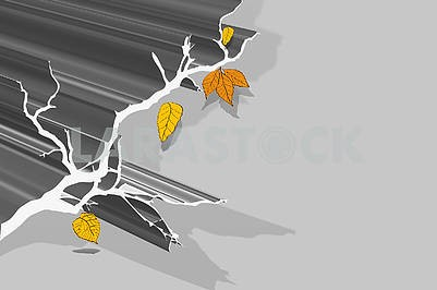 3d illustration, gray background, fault, shadow, autumn leaves