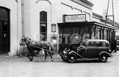 German car BMW 309 driven by a horse.