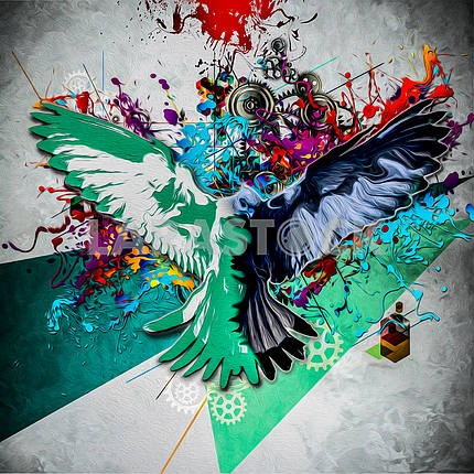 Abstract background with a bird