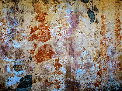 Old concrete wall with paint elements