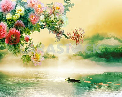 Illustration with a fisherman on a boat, large flowers and dark clouds