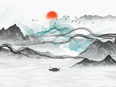 Landscape illustration, gray hills, gray and blue abstract waves, sunset, lake, fisherman on a boat, flock of birds in the sky