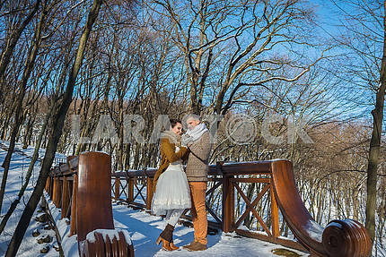 Wedding couple in a showy wither day, holding each other, standing on the bridge. rustic style. short wedding dress. Girl brunette. beautiful bride winter lanscape on the background. Ukrainian Mezhigiria