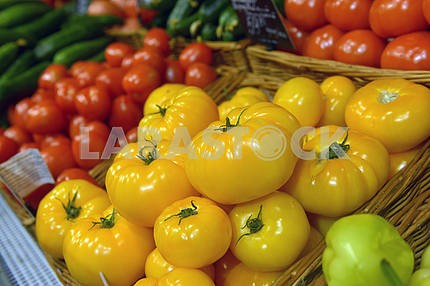 Yellow and red tomatoes on display