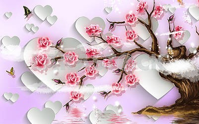 3D illustration, soft pink background, white paper hearts, blooming tree
