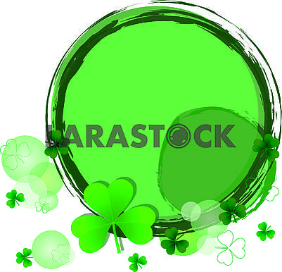 Background with round frame, bubbles and clover trefoil