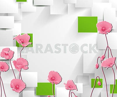3d illustration, light background, gray and green rectangles, pink poppies