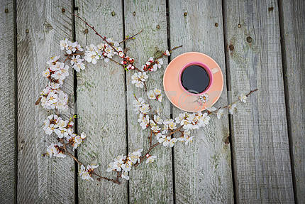 A rosy cup of coffee near the spring blooming apple tree twig on the boards (planking), flat lay, with lime leafs.