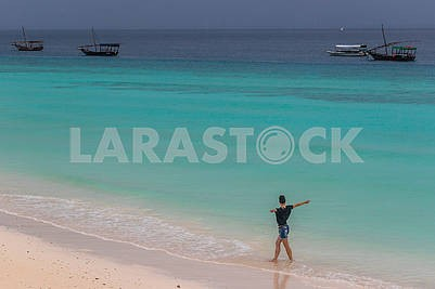 Girl on the Indian Ocean coast