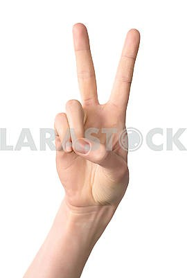 Woman hand showing victory sign gesture, isolated on white backg
