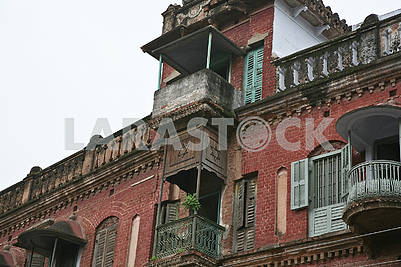 15Old buildings of the embankment of the Ganges River.
