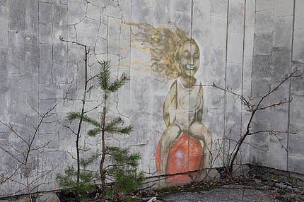 Graffiti on the wall in Pripyat