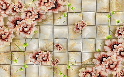 3D illustration, texture tile, flowers and green shoots