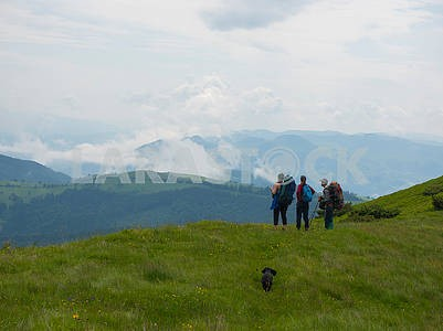 Tourists in the Carpathians