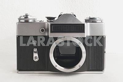 Old Soviet film camera on white background close-up
