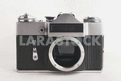 Old Soviet film camera on white background close-up