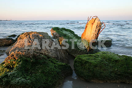 Ruins, Beach at sundown, Caesarea, Israel