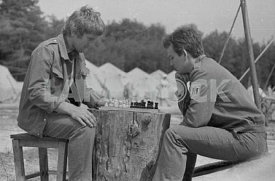 Students play chess in Pripyat