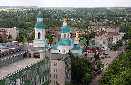 View of the city Glukhov to the water tower