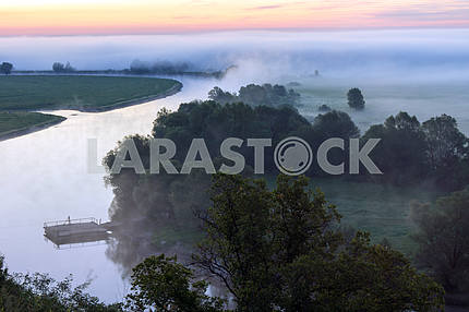 Field, trees and the river Desna. Mezin. Chernihiv region