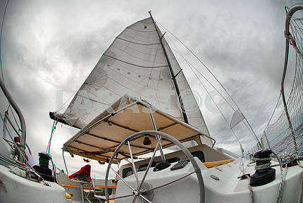 Sail yacht in the faithful weather