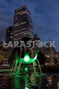 Fountain pioneers George Tsutakava at night