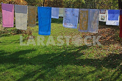 Colorful towels drying in the fresh air