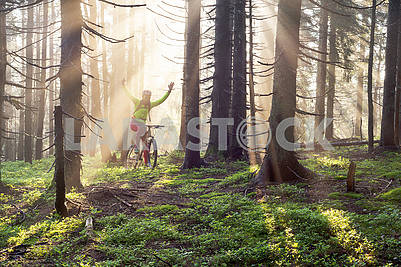 Dawn rays mountain cycling