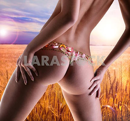 Girl with a flower underwear. Golden wheat ready for harvest gro