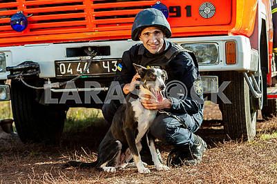 Rescuer and dog