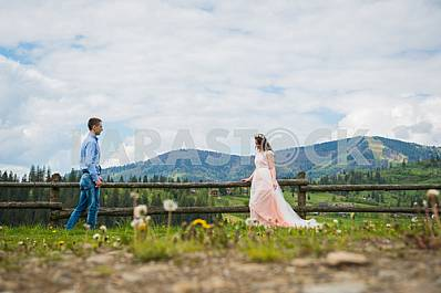 Newlyweds - handsome groom and gorgeous bride walking on trail - to each other, across field with forest hills and cloudly sky as background