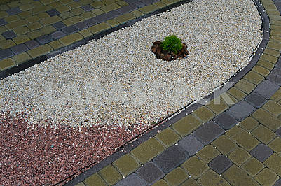 Path with multicolored gravel