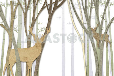 Background carved from paper, forest and reindeer