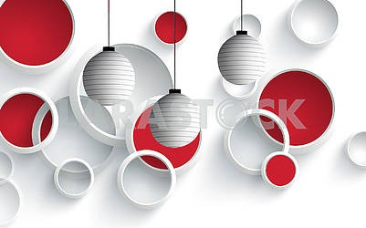 3d illustration, white background, white rings, red circles, three round gray shades hang from above