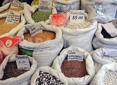Cereals and legumes in bags