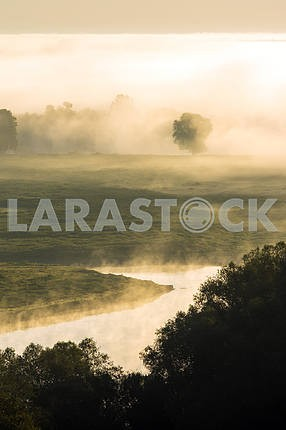 Desna River in the fog. Mezin. Chernihiv region