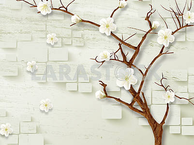 3d illustration, light background, rounded rectangles, blooming cherry tree