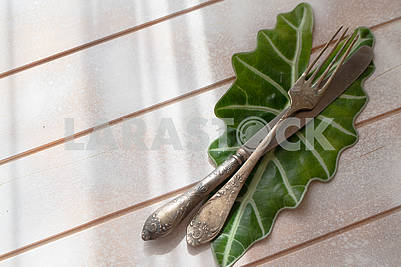 Antique silverware and fresh green leaf on light wooden background