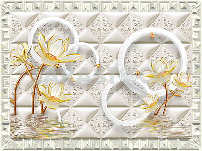 3d illustration, light background, tile, ornamental frame, large yellow water lilies stand in water, yellow butterflies fly