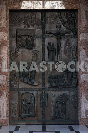 Illustrations of stories from the Bible on doors Basilica of the Annunciation in Nazareth