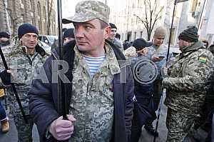 A rally of volunteer battalions in Kiev.