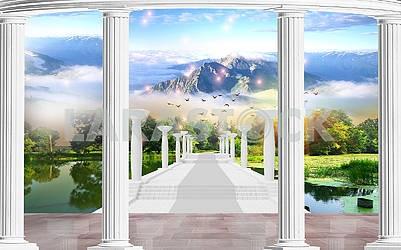 Landscape illustration - columns, mountains, bridge over the lake