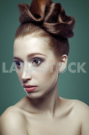 Beauty portrait of young women with red hair, dark brown eyes an