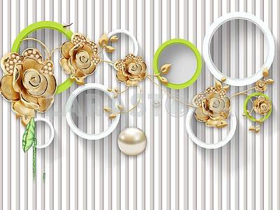 3д иллюстрация, белый фон, вертикальные полосы, белые и зеленые кольца, жемчуг, золотые фигурные розы