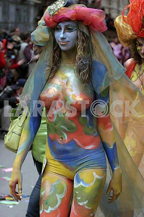 Model at the festival of body art